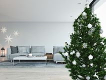 3d rendering. home with christmastree in modern apartment. christmas decoration. Living room in modern loft apartment. 3d rendering Royalty Free Stock Photography