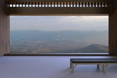 Living room modern and simple calm in the view outside the window and mountain views in the beautiful, long, in the background of Stock Photography