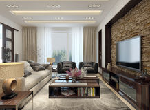 Living room modern style Royalty Free Stock Photos