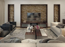Living room modern style Stock Image