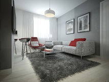Living room modern style. 3D images stock illustration