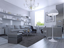 Living room in modern style. Elegant living room with white walls and light grey laminate flooring. Wall system with white shelves. IKEA furniture. 3D render vector illustration