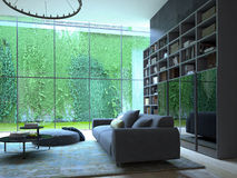 Living room. Modern living room with a wall of green plants royalty free illustration