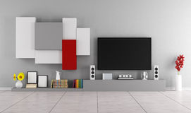 Living room with modern wall unit Royalty Free Stock Photography