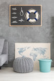 Living room with nautical decor royalty free stock photos