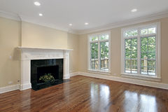 Living room in new construction home. Living room with marble fireplace in new construction home Stock Photo