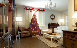 Living room, New Years interior Stock Photography