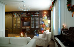 Living room, New Years interior Stock Images