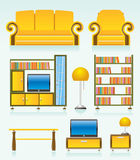Living room objects, furniture and equipment vector illustration