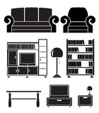 Living room objects, furniture and equipment stock illustration