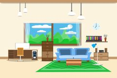 Living room or office design interior relax with sofa blue and bookshelf window in wall yellow background. vector illustration.  Stock Photography