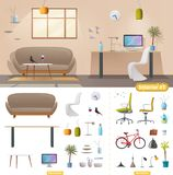 Living room and office interior. Modern apartment, scandinavian or loft design stock illustration