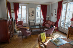 Living room in a old apartment in Paris Royalty Free Stock Image