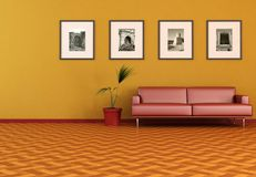 Living room with old photo Royalty Free Stock Image