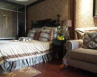 Living Room,Open House,Bed Stock Image