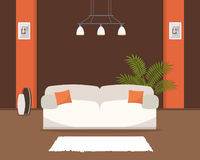 Living room in an orange and brown colors with white sofa. There is also a big vases, flower and pictures in frames in the image. Vector flat illustration Stock Images