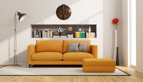 Living room with orange sofa Stock Photos