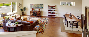 Living room. Panoramic view from staircase Stock Photos