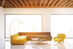 Living room with panoramic windows, toned Stock Photo