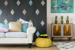Living room in pastel colours and exotic style Stock Photo