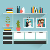 Living room with photo pictures and book shelves. Royalty Free Stock Photo
