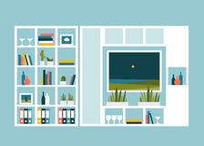 Living room with photo pictures and book shelves. Royalty Free Stock Photography