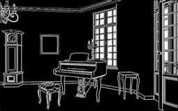 Living Room With Piano Vector 02 Stock Photo