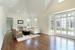Living room with picture window. Living room in new construction home with picture window royalty free stock image