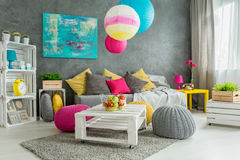 Living room of a positive artist Stock Photos