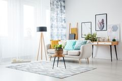 Living room with posters. Stool with plant on carpet and lamp in living room with posters above cabinet behind sofa with blue cushion Stock Photo