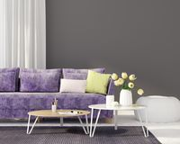 Living room with a purple sofa. 3D illustration. Interior of the living room with a purple sofa vector illustration