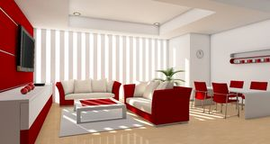 Living room red Royalty Free Stock Photos