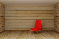 Living room with red chair. Wooden minimalist living room with red chair Royalty Free Stock Images