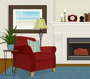 Living Room with Red Overstuffed Chair and Fireplace. Home interior with big red chair, fireplace, floor lamp and houseplant. Flat style with perspective Stock Photography
