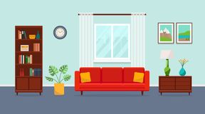 Living room with red sofa, bookcase, torchere, vase, plant, paintings and window. royalty free illustration