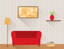 Living room with red sofa and cat Stock Photos