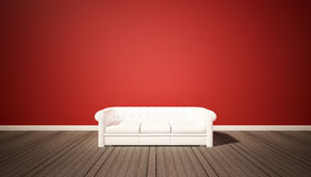 Living room, red wall and dark wood floor with white sofa Stock Photo