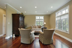 Living room with redwood flooring Stock Photo