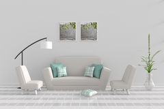 Living room in relax day. Decor with sofa, two armchair, green-white pillow, white lamp, tree in vase, grid cement wall and tile floor. The sun shines through Stock Photos