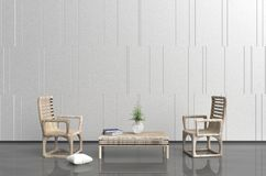 Living room in relax day. White-grey living room are decorated with wood armchair and table, tree in glass vase, white pillow, blue book,  white cement wall it Royalty Free Stock Photography