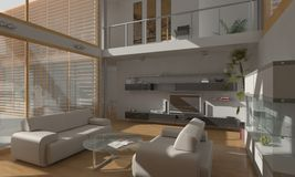 Living Room Render Royalty Free Stock Photos