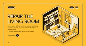 Living room repair works isometric vector website. House repair service isometric vector web banner. Home living room on reconstruction, walls and floor renewal vector illustration