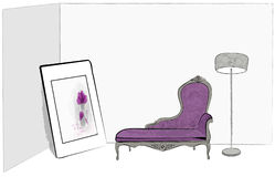 Living room. Retro living room  draw  hand illustration Royalty Free Stock Images