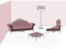 Living room. Retro living room  draw  hand illustration Royalty Free Stock Photo