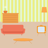 Living room in retro style. Royalty Free Stock Photos