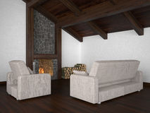 Living room with roof beam and fireplace. Living room with roof beam and wooden parquet royalty free illustration