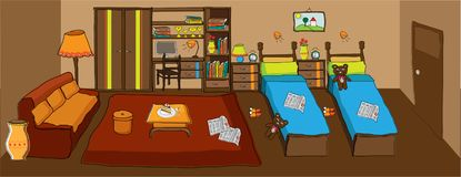 Living room and room for kids in one vector illustration