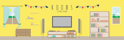 Living room (Rooms). Vector illustration of a living room Stock Images
