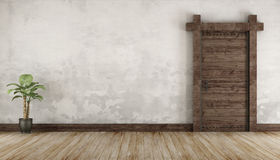 Living room in rustic style without furniture Royalty Free Stock Photo