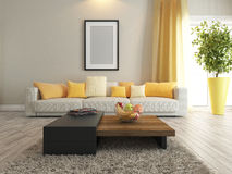 Living room or saloon interior design rendering. Modern interior design with carpet and stand Stock Photography